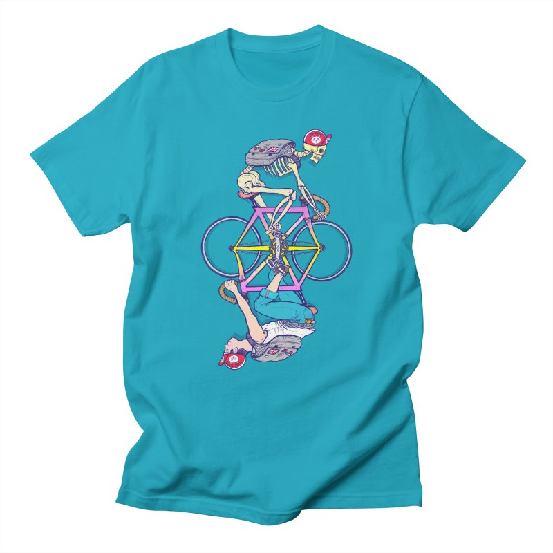 The Inexplicable Duality of Existence or something like that. in Men's T-Shirt Cyan by Bob Motown's SUPER SNAZZY Shirt Shack