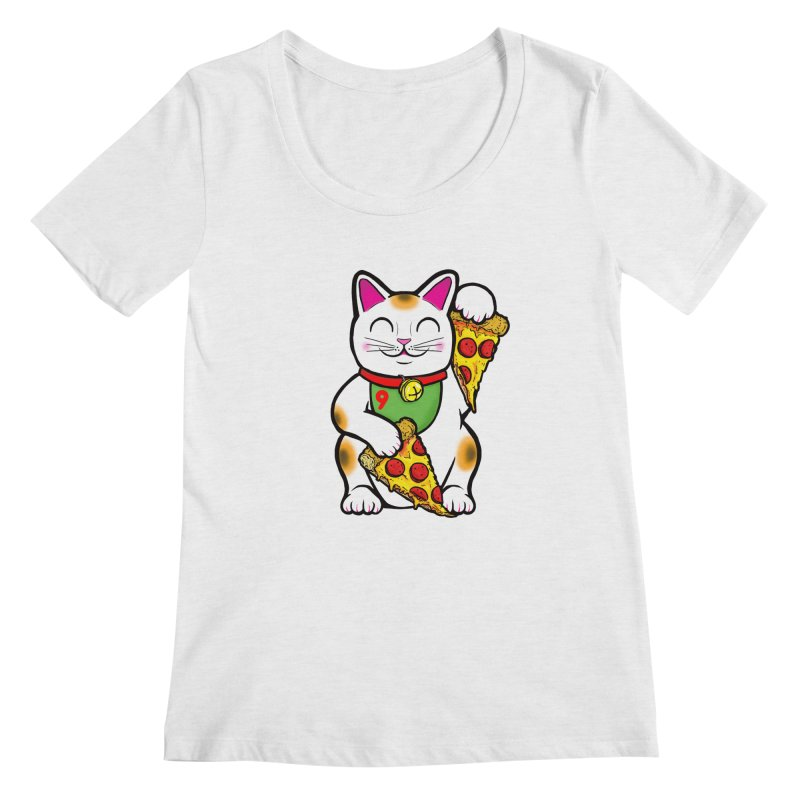 ラッキーピザ猫 (Lucky Pizza Cat) Women's Regular Scoop Neck by Bob Motown's SUPER SNAZZY Shirt Shack