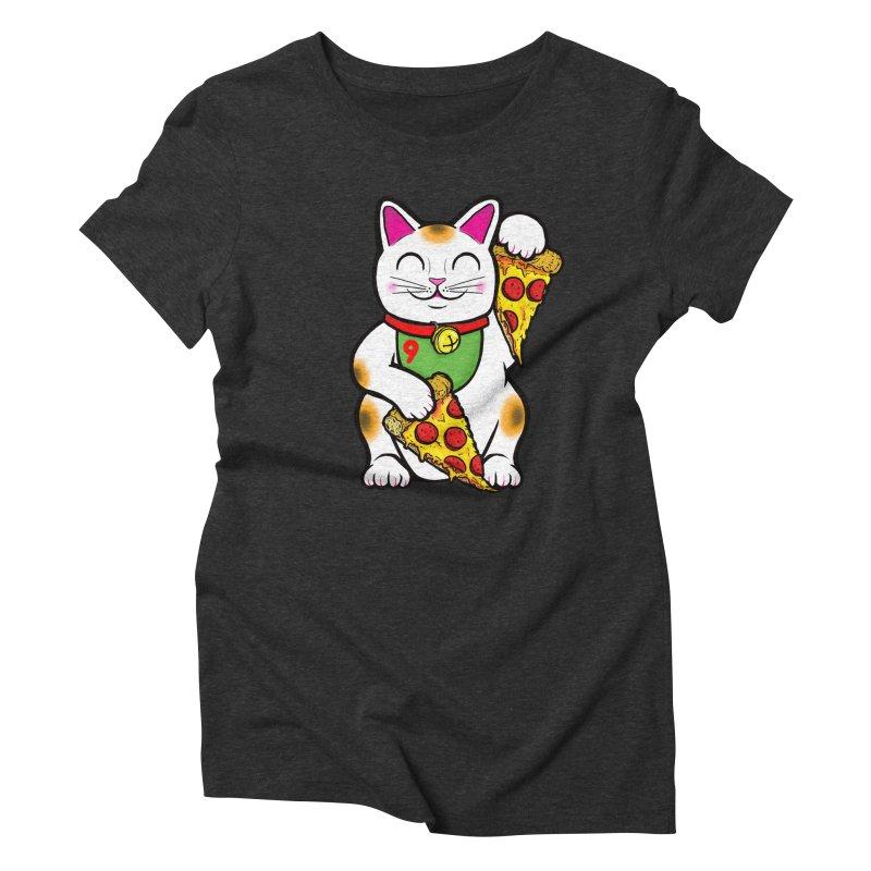 ラッキーピザ猫 (Lucky Pizza Cat) Women's Triblend T-Shirt by Bob Motown's SUPER SNAZZY Shirt Shack