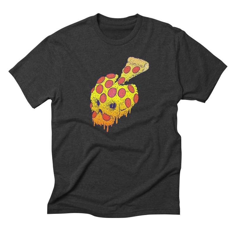 Pizza Skull in Men's Triblend T-Shirt Heather Onyx by Bob Motown's SUPER SNAZZY Shirt Shack