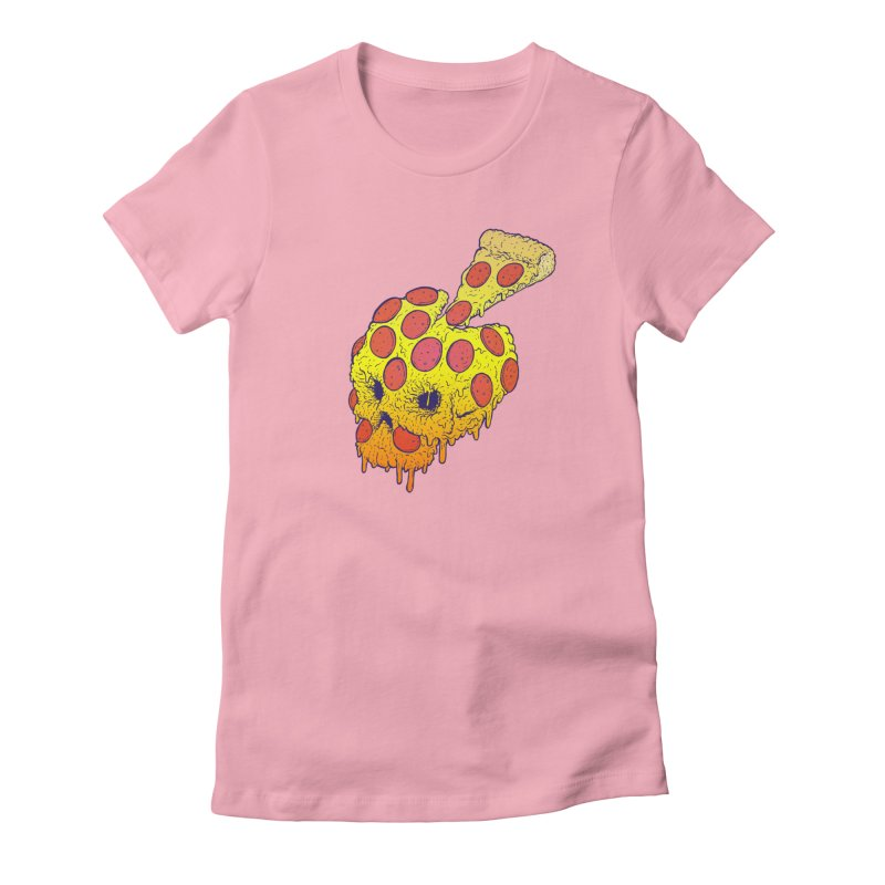 Pizza Skull Women's Fitted T-Shirt by Bob Motown's SUPER SNAZZY Shirt Shack