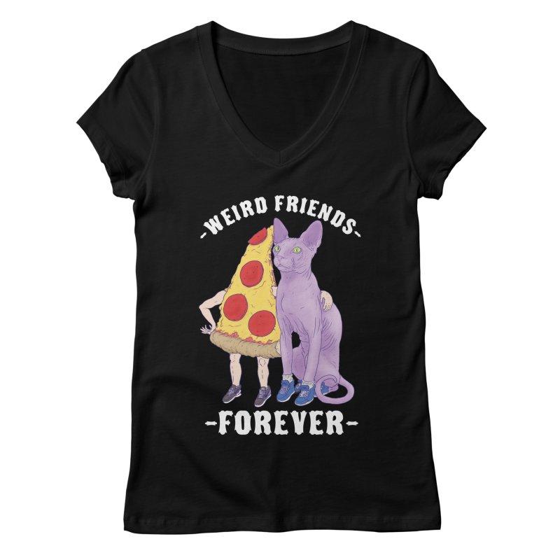 WEIRD FRIENDS FOREVS Women's Regular V-Neck by Bob Motown's SUPER SNAZZY Shirt Shack