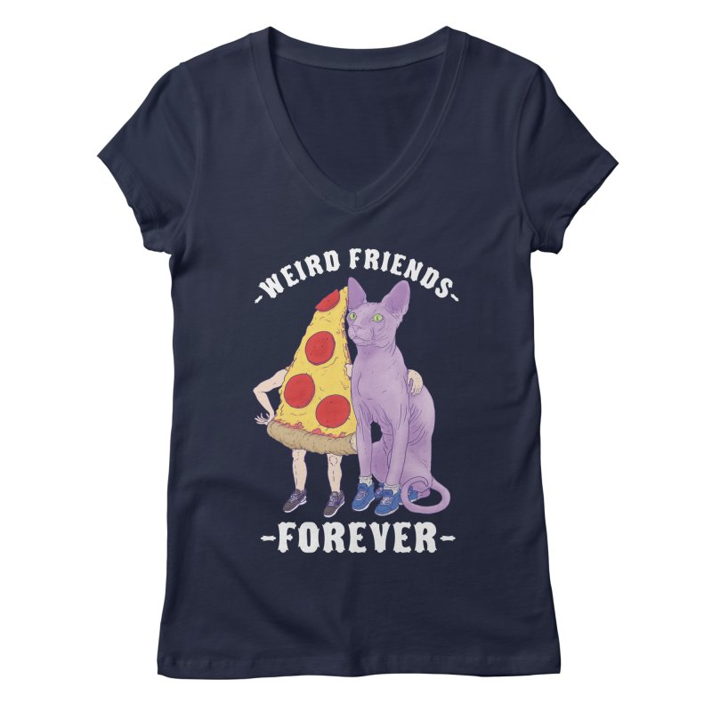 WEIRD FRIENDS FOREVS Women's Regular V-Neck by Bob Motown's SUPER SNAZZY Shirt Shack
