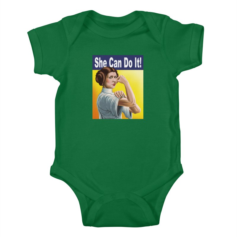She Can Do It: Leia Kids Baby Bodysuit by bobtheTEEartist's Artist Shop