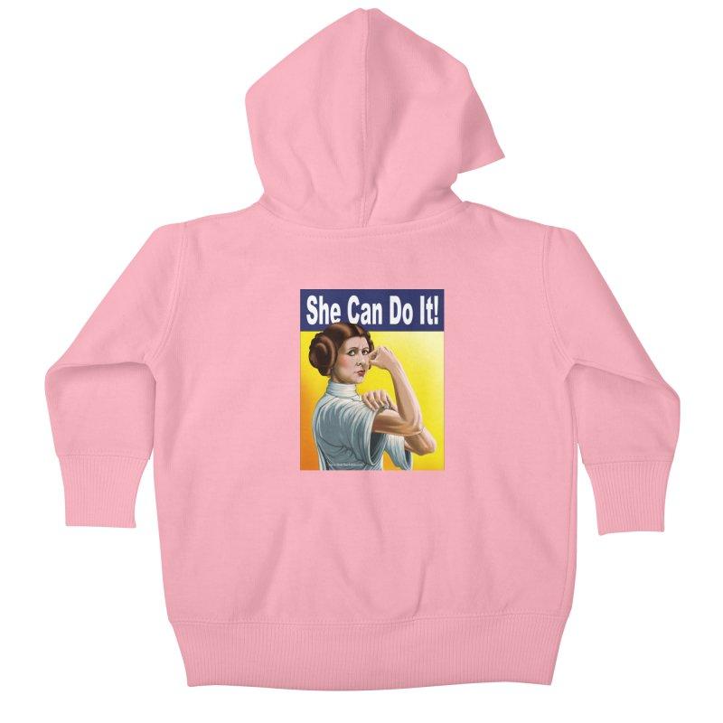 She Can Do It: Leia Kids Baby Zip-Up Hoody by bobtheTEEartist's Artist Shop