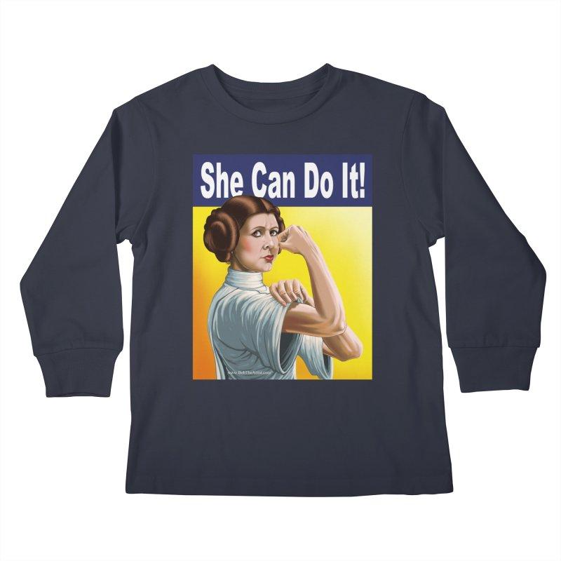 She Can Do It: Leia Kids Longsleeve T-Shirt by bobtheTEEartist's Artist Shop