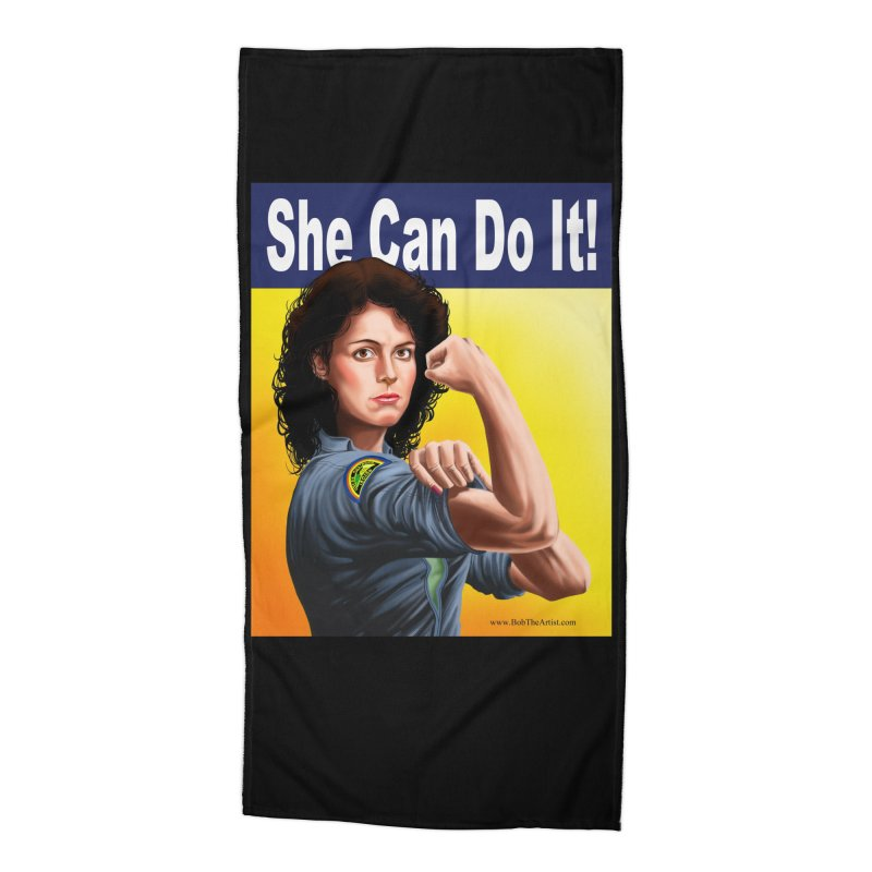She Can Do It: Ripley Accessories Beach Towel by bobtheTEEartist's Artist Shop