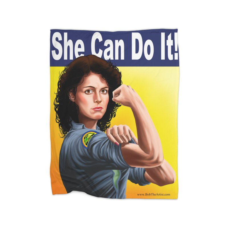 She Can Do It: Ripley Home Blanket by bobtheTEEartist's Artist Shop
