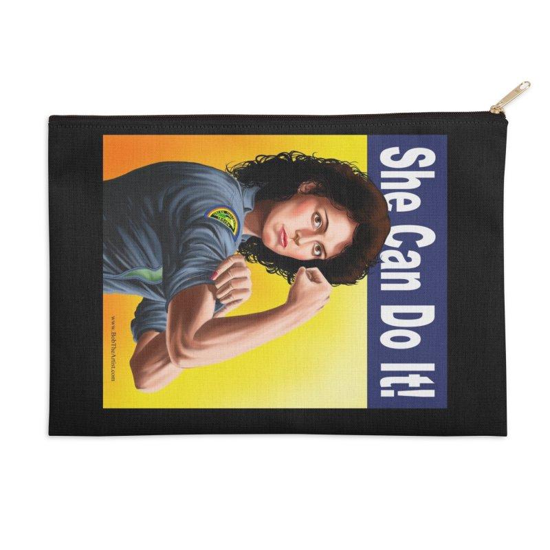 She Can Do It: Ripley Accessories Zip Pouch by bobtheTEEartist's Artist Shop