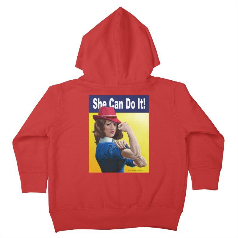 She Can Do It: Agent Carter Kids Toddler Zip-Up Hoody by bobtheTEEartist's Artist Shop