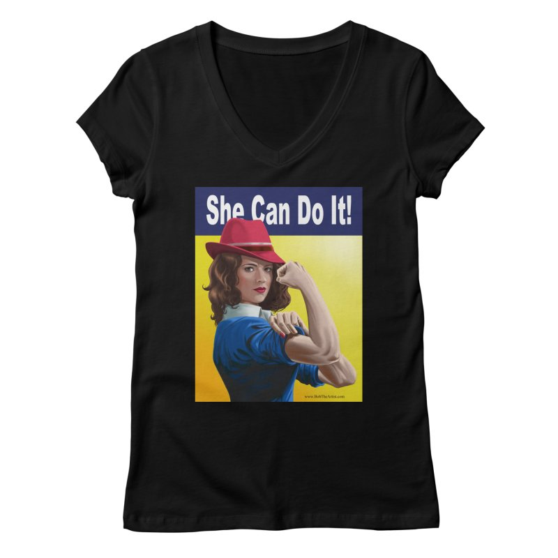 She Can Do It: Agent Carter Women's V-Neck by bobtheTEEartist's Artist Shop