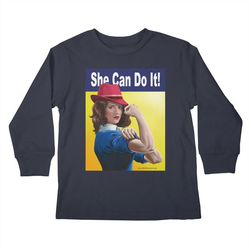 She Can Do It: Agent Carter Kids Longsleeve T-Shirt by bobtheTEEartist's Artist Shop