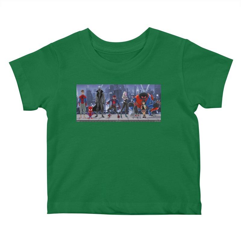 The Spidey gang Kids Baby T-Shirt by bobtheTEEartist's Artist Shop