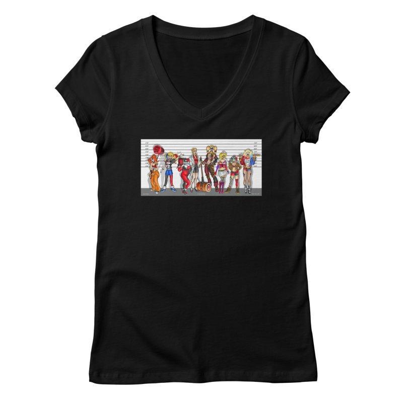 The Harley Quinn Lineup Women's V-Neck by bobtheTEEartist's Artist Shop