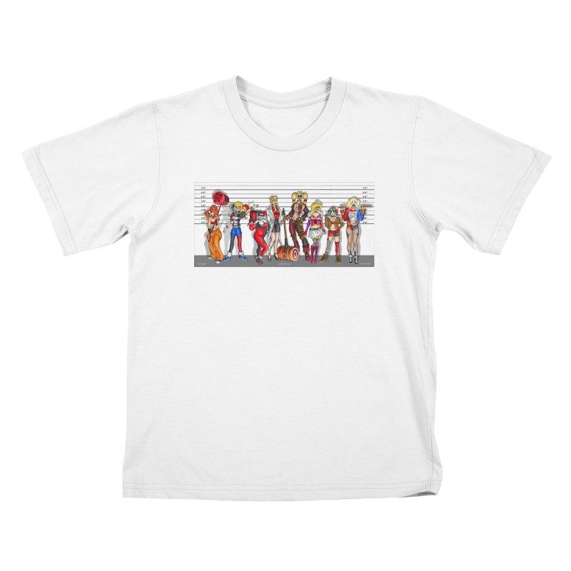 The Harley Quinn Lineup Kids T-Shirt by bobtheTEEartist's Artist Shop