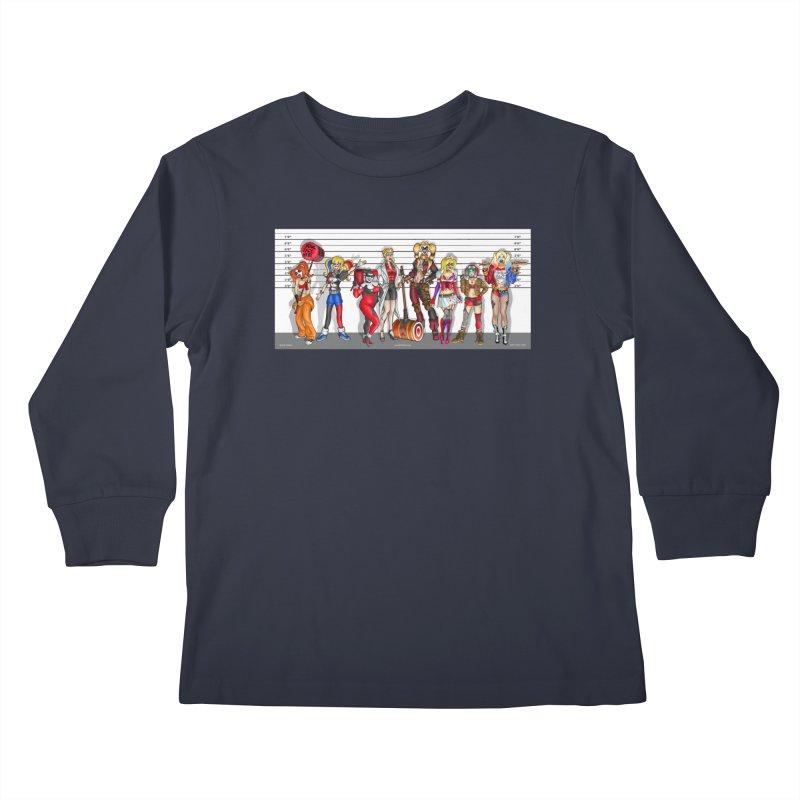 The Harley Quinn Lineup Kids Longsleeve T-Shirt by bobtheTEEartist's Artist Shop