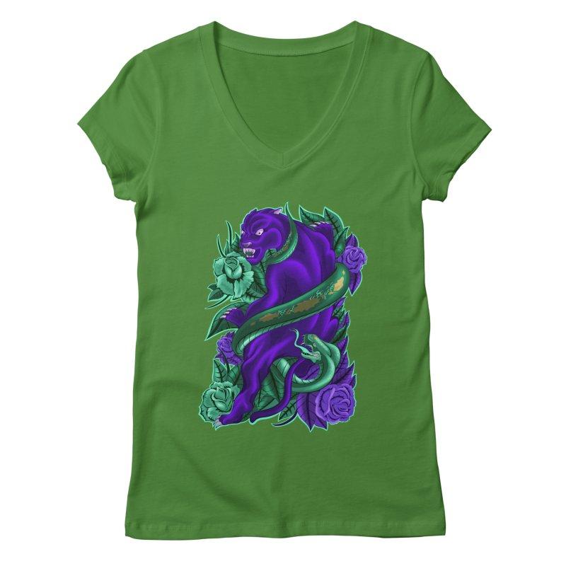Panther&Snake Women's V-Neck by bobygates's Artist Shop