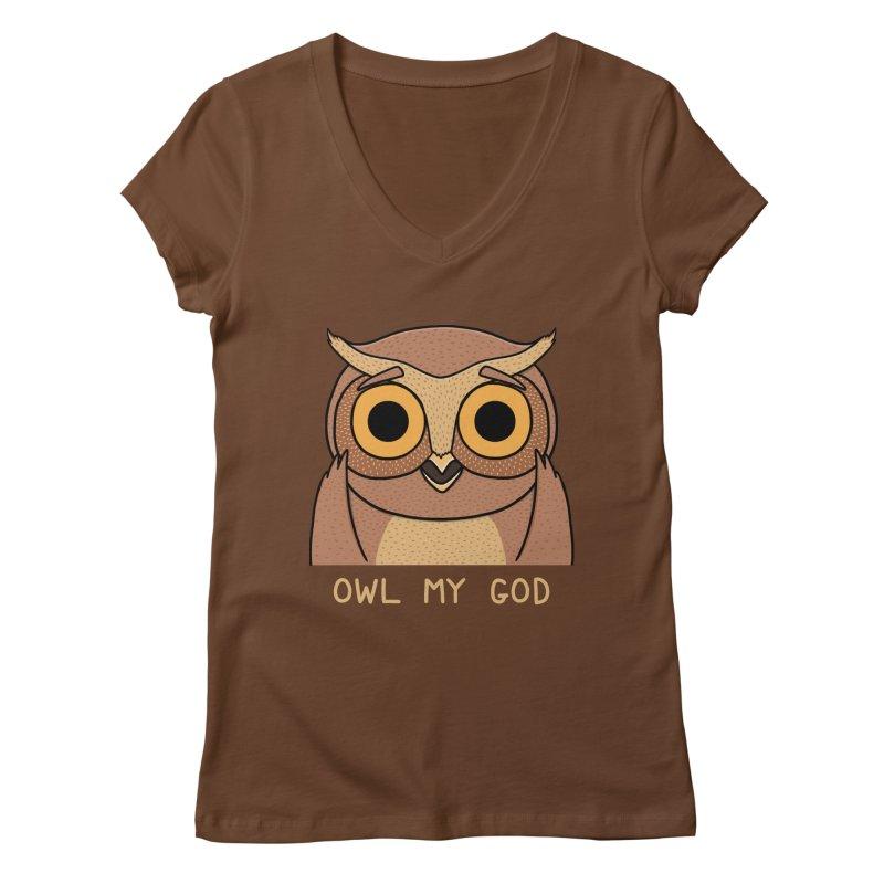 Owl My God Women's V-Neck by bohsky's Artist Shop