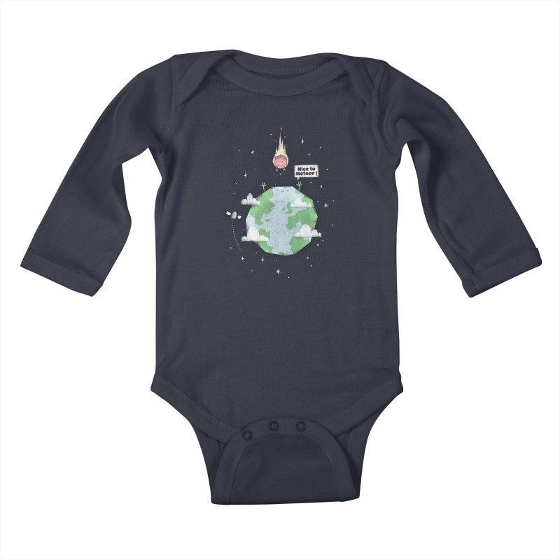 Nice To Meteor Kids Baby Longsleeve Bodysuit by boney's Artist Shop