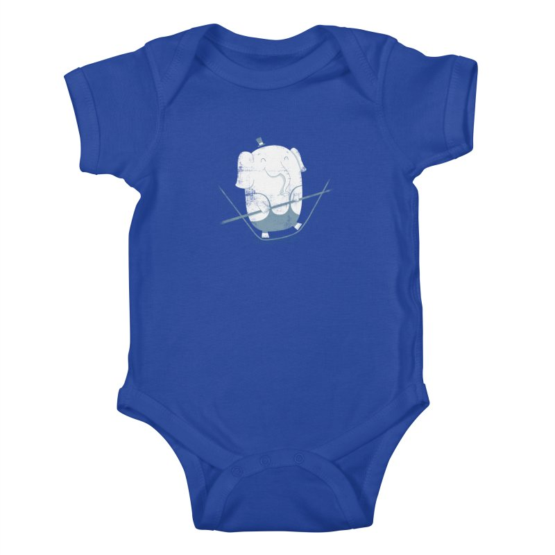 Balancing Act (Blue) Kids Baby Bodysuit by boney's Artist Shop