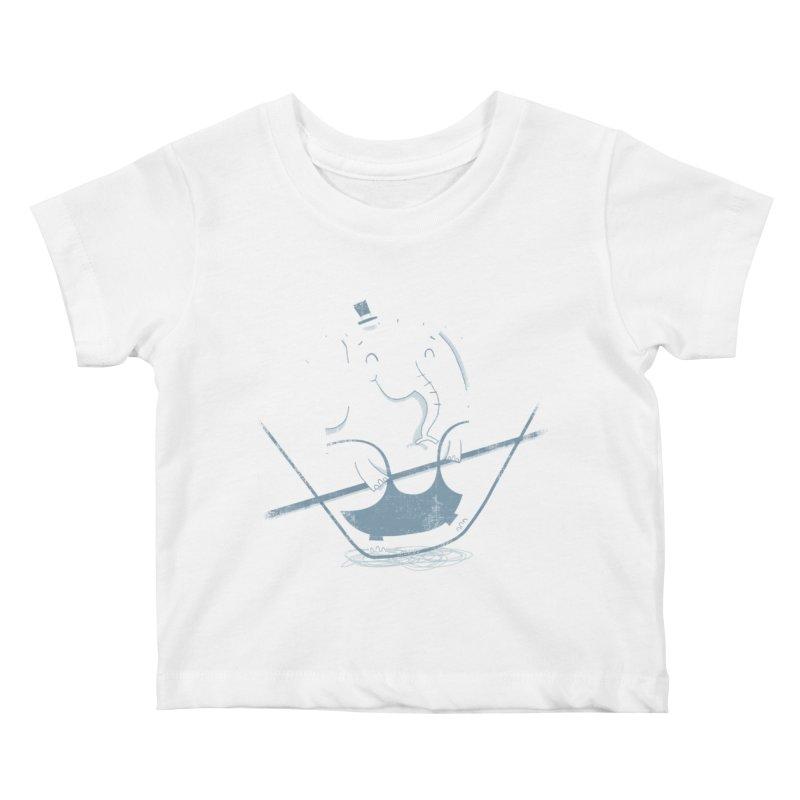 Balancing Act (Blue) Kids Baby T-Shirt by boney's Artist Shop
