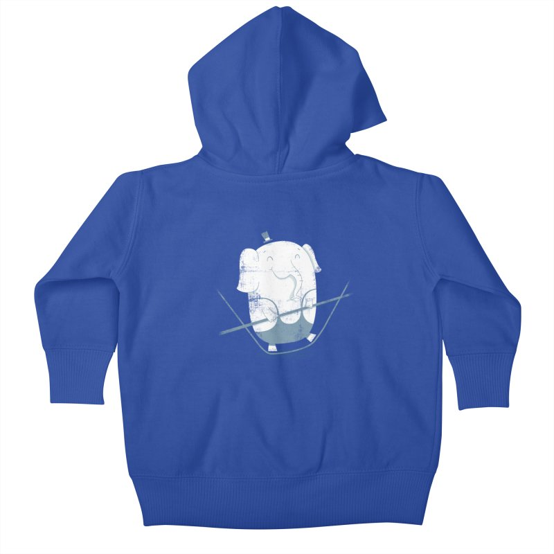 Balancing Act (Blue) Kids Baby Zip-Up Hoody by boney's Artist Shop