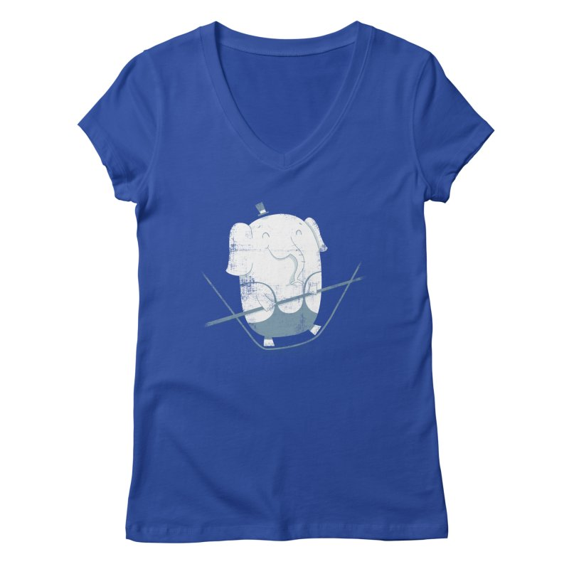 Balancing Act (Blue) Women's V-Neck by boney's Artist Shop