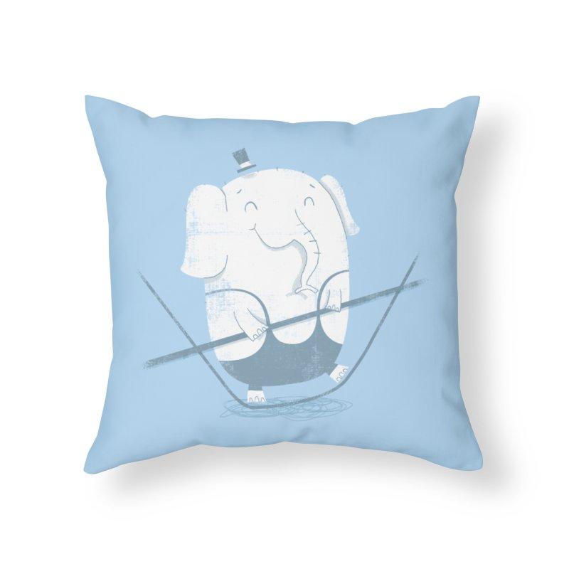 Balancing Act (Blue) Home Throw Pillow by boney's Artist Shop