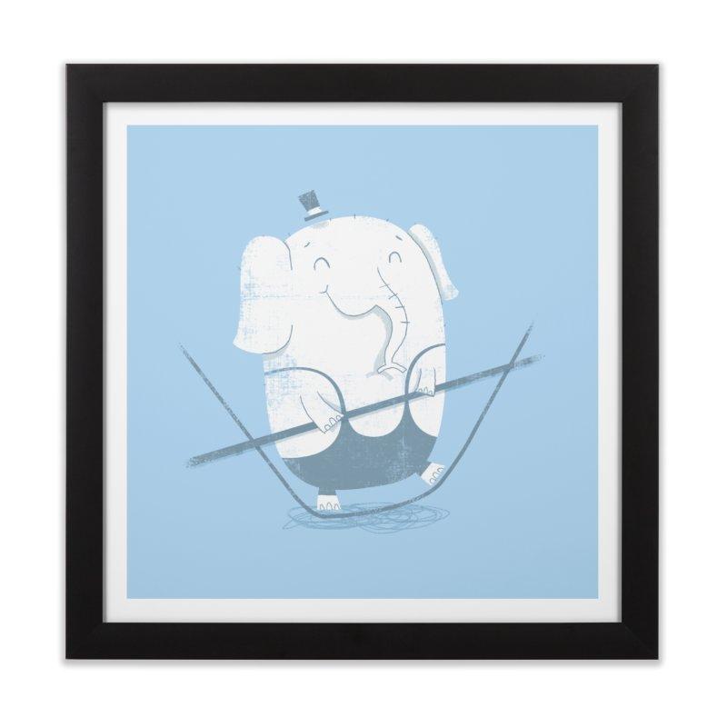 Balancing Act (Blue) Home Framed Fine Art Print by boney's Artist Shop