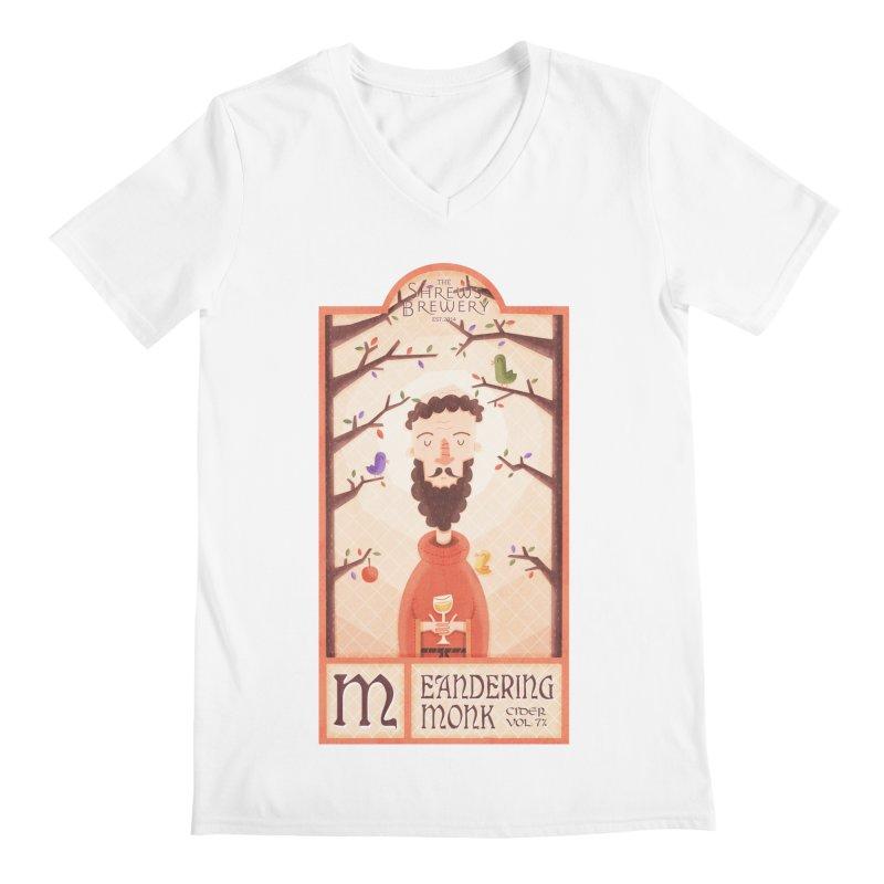 Meandering Monk Men's V-Neck by boney's Artist Shop