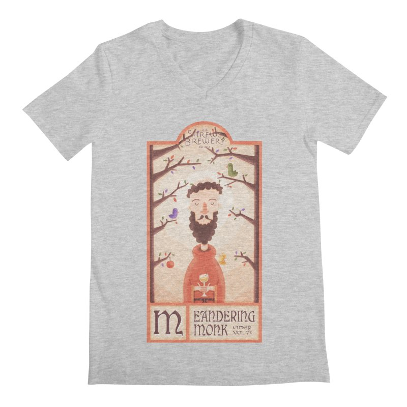 Meandering Monk Men's V-Neck by boney's Artist Shop