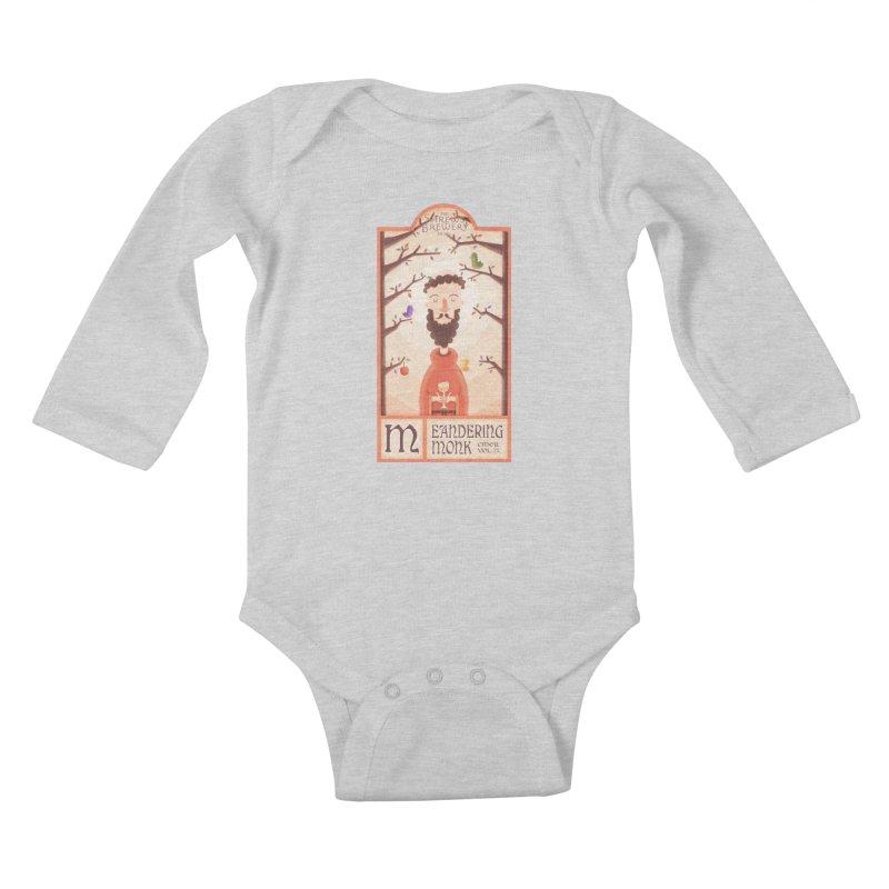 Meandering Monk Kids Baby Longsleeve Bodysuit by boney's Artist Shop