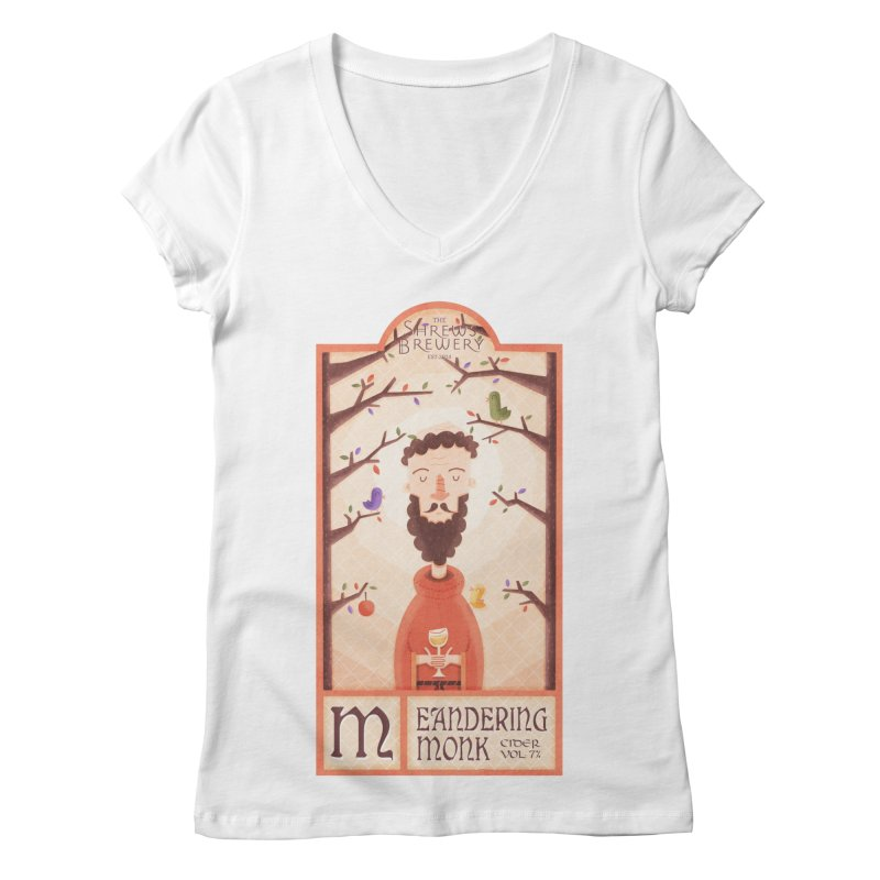 Meandering Monk Women's V-Neck by boney's Artist Shop