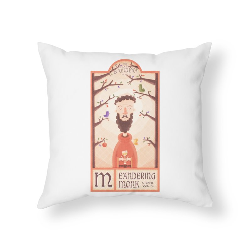 Meandering Monk Home Throw Pillow by boney's Artist Shop