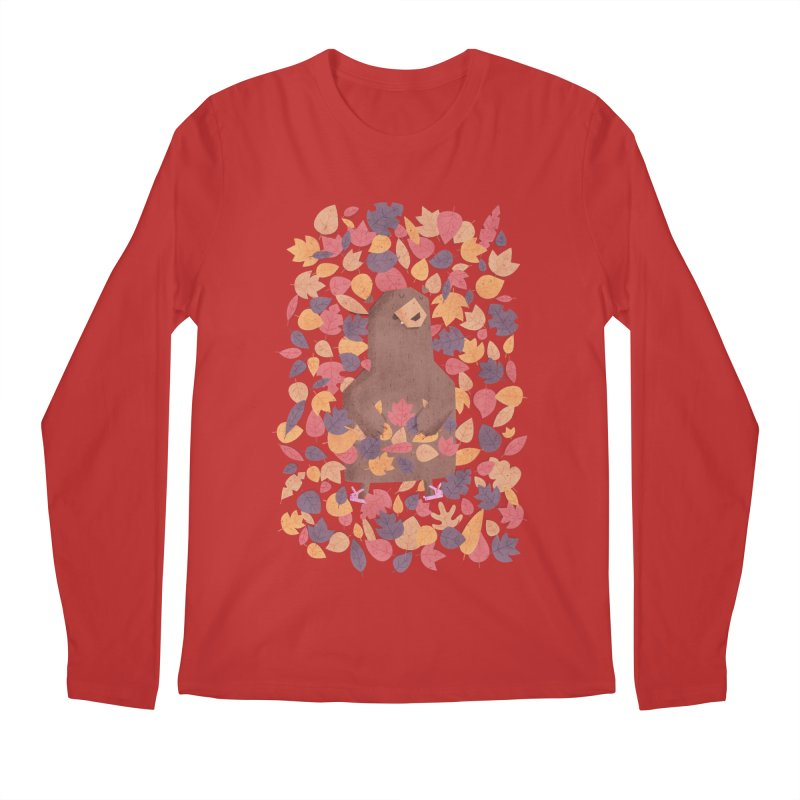Leaf the Bear Alone He's Hibernating Men's Longsleeve T-Shirt by boney's Artist Shop