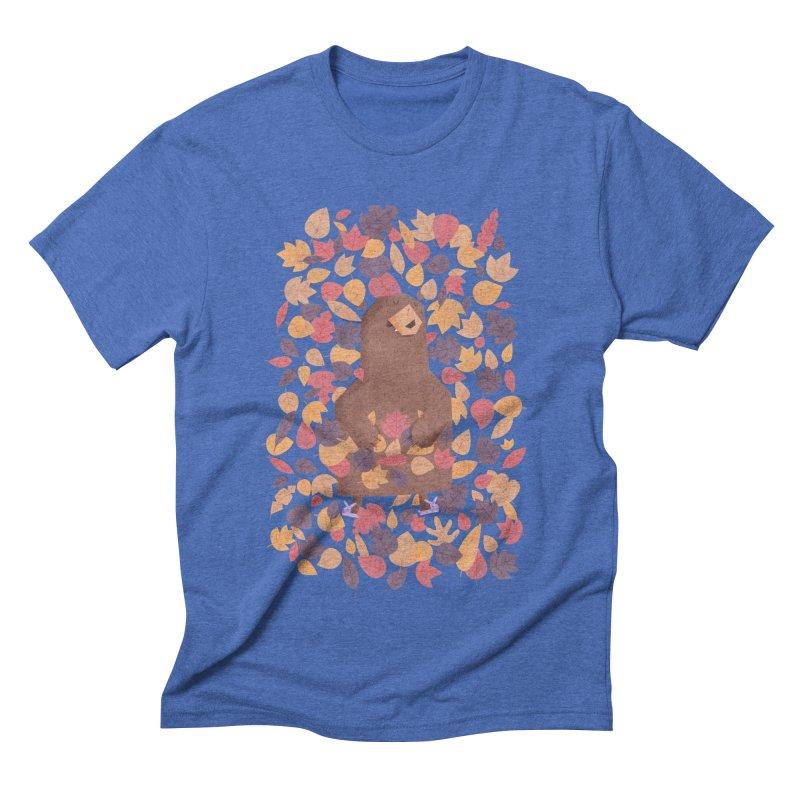 Leaf the Bear Alone He's Hibernating Men's Triblend T-Shirt by boney's Artist Shop