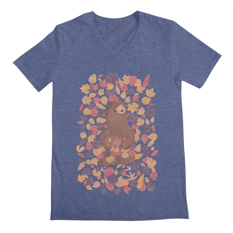 Leaf the Bear Alone He's Hibernating Men's V-Neck by boney's Artist Shop