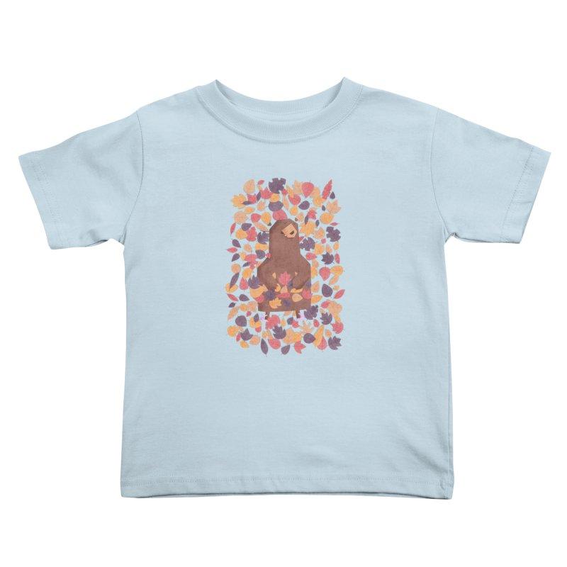 Leaf the Bear Alone He's Hibernating Kids Toddler T-Shirt by boney's Artist Shop