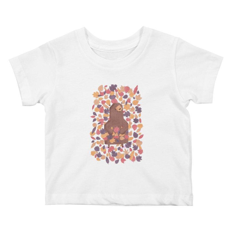 Leaf the Bear Alone He's Hibernating Kids Baby T-Shirt by boney's Artist Shop