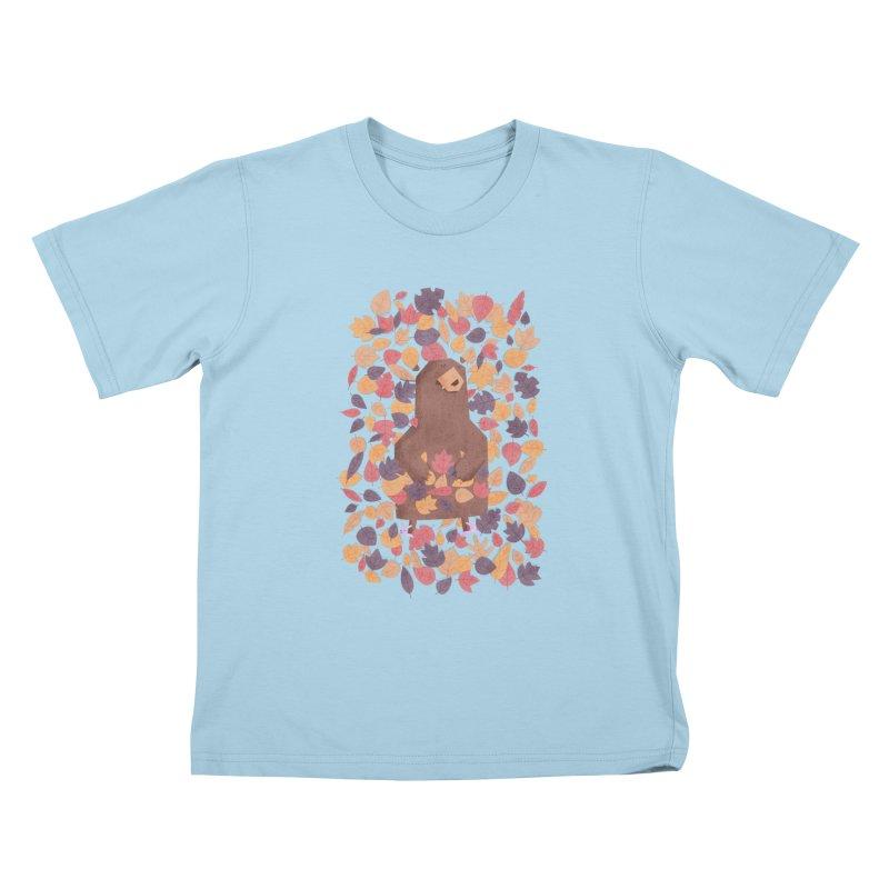 Leaf the Bear Alone He's Hibernating Kids T-Shirt by boney's Artist Shop