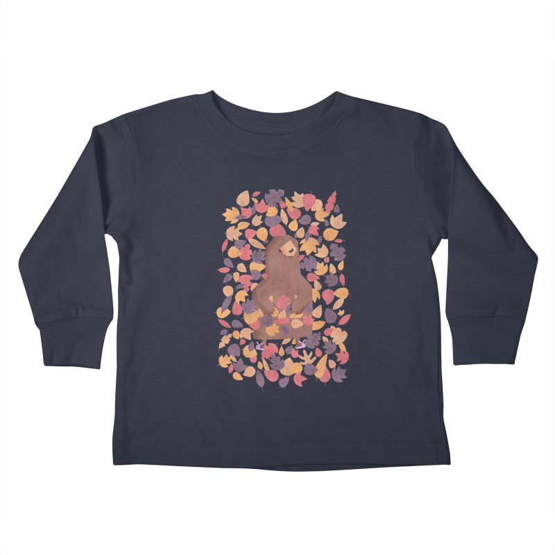 Leaf the Bear Alone He's Hibernating Kids Toddler Longsleeve T-Shirt by boney's Artist Shop