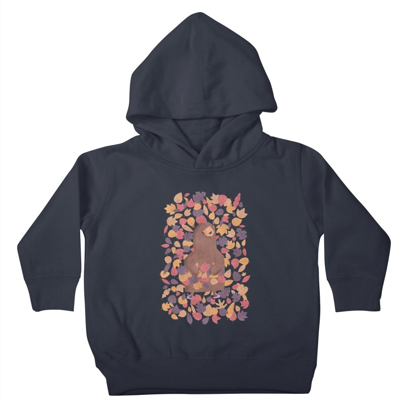 Leaf the Bear Alone He's Hibernating Kids Toddler Pullover Hoody by boney's Artist Shop