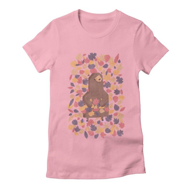 Leaf the Bear Alone He's Hibernating Women's Fitted T-Shirt by boney's Artist Shop