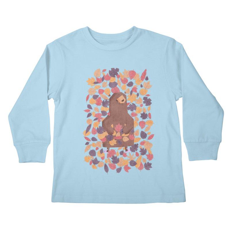 Leaf the Bear Alone He's Hibernating Kids Longsleeve T-Shirt by boney's Artist Shop