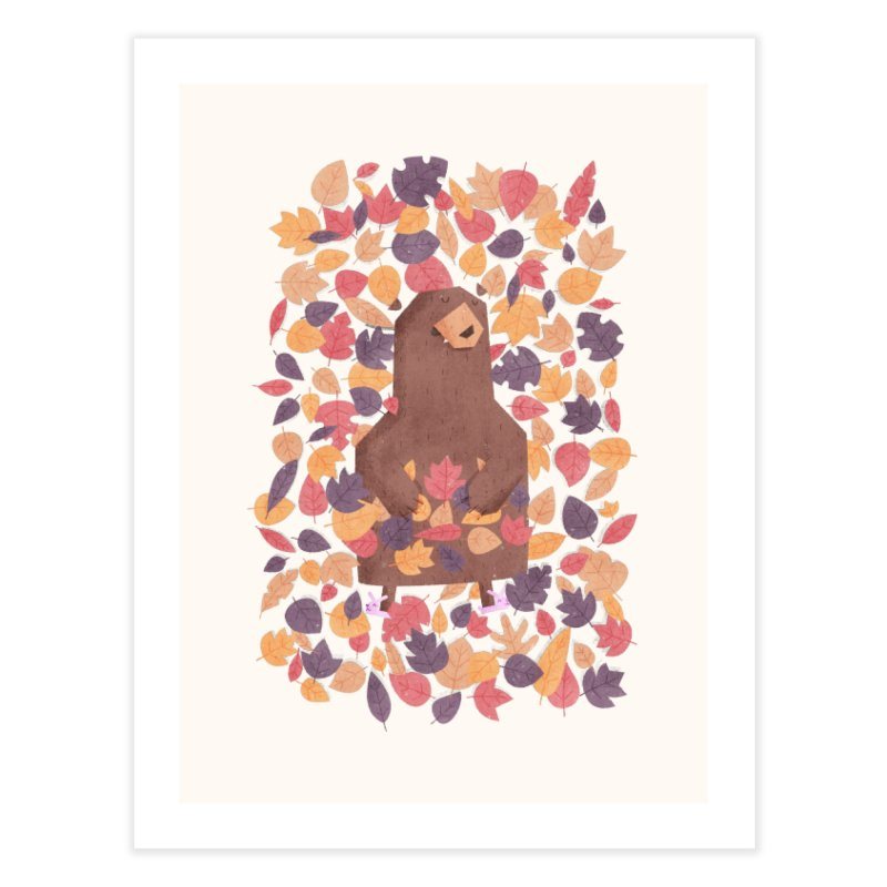 Leaf the Bear Alone He's Hibernating Home Fine Art Print by boney's Artist Shop