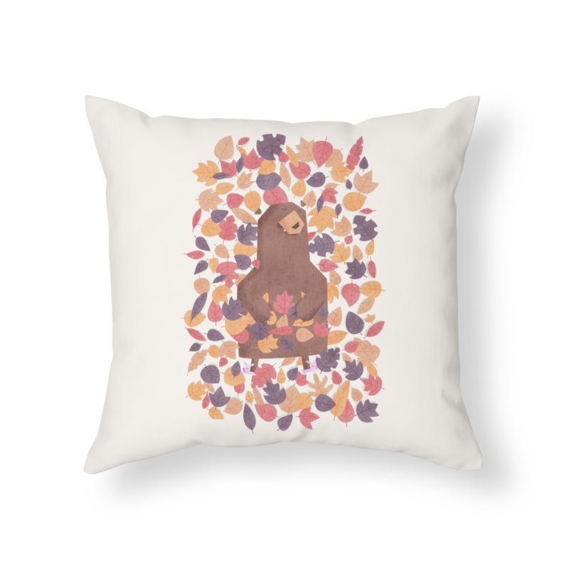 Leaf the Bear Alone He's Hibernating Home Throw Pillow by boney's Artist Shop