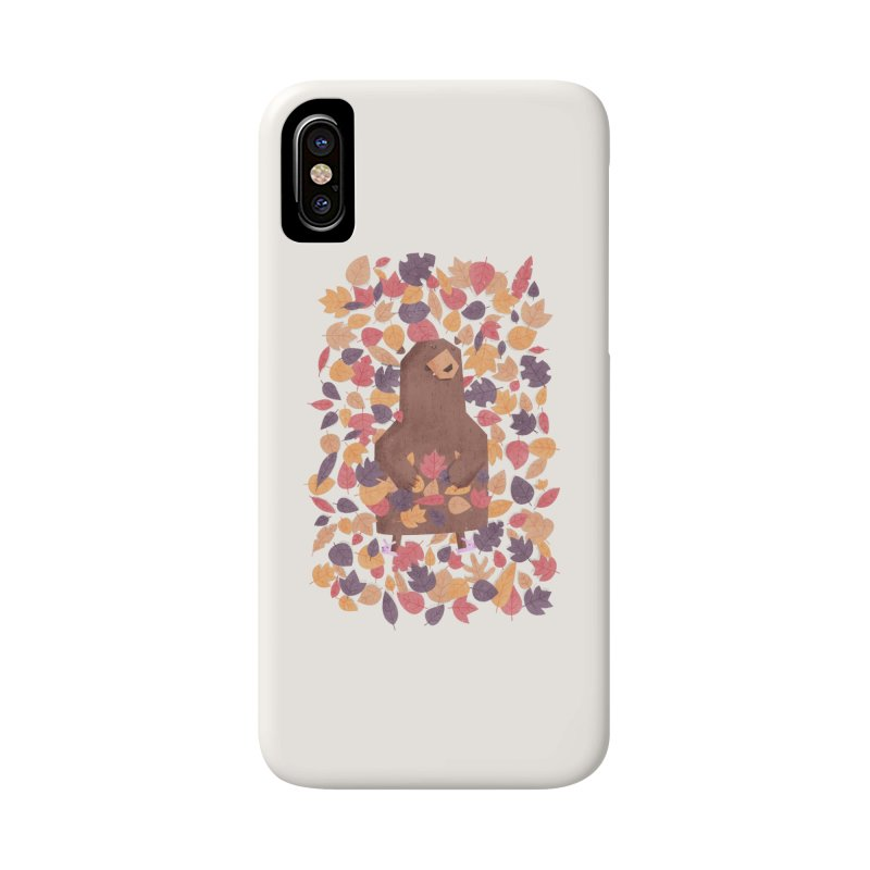 Leaf the Bear Alone He's Hibernating Accessories Phone Case by boney's Artist Shop