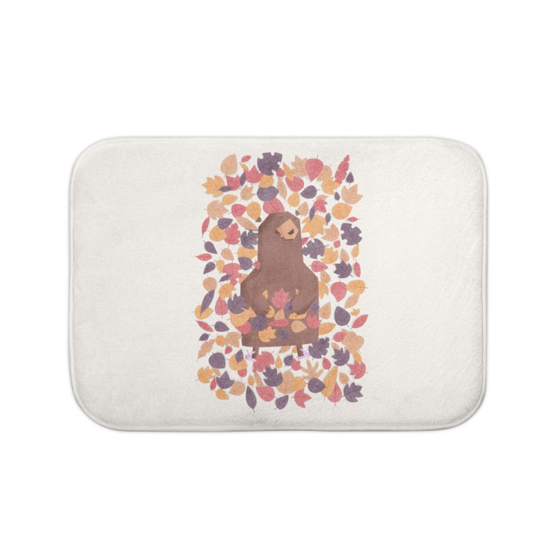 Leaf the Bear Alone He's Hibernating Home Bath Mat by boney's Artist Shop