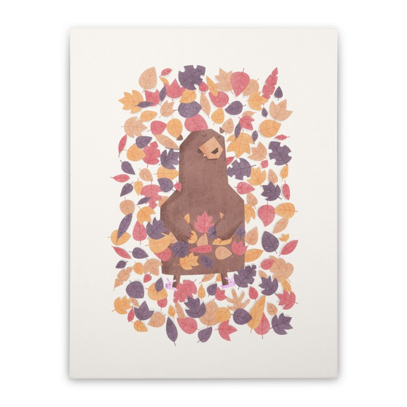 Leaf the Bear Alone He's Hibernating Home Stretched Canvas by boney's Artist Shop
