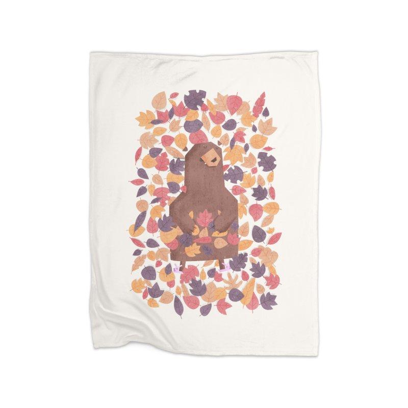 Leaf the Bear Alone He's Hibernating Home Blanket by boney's Artist Shop